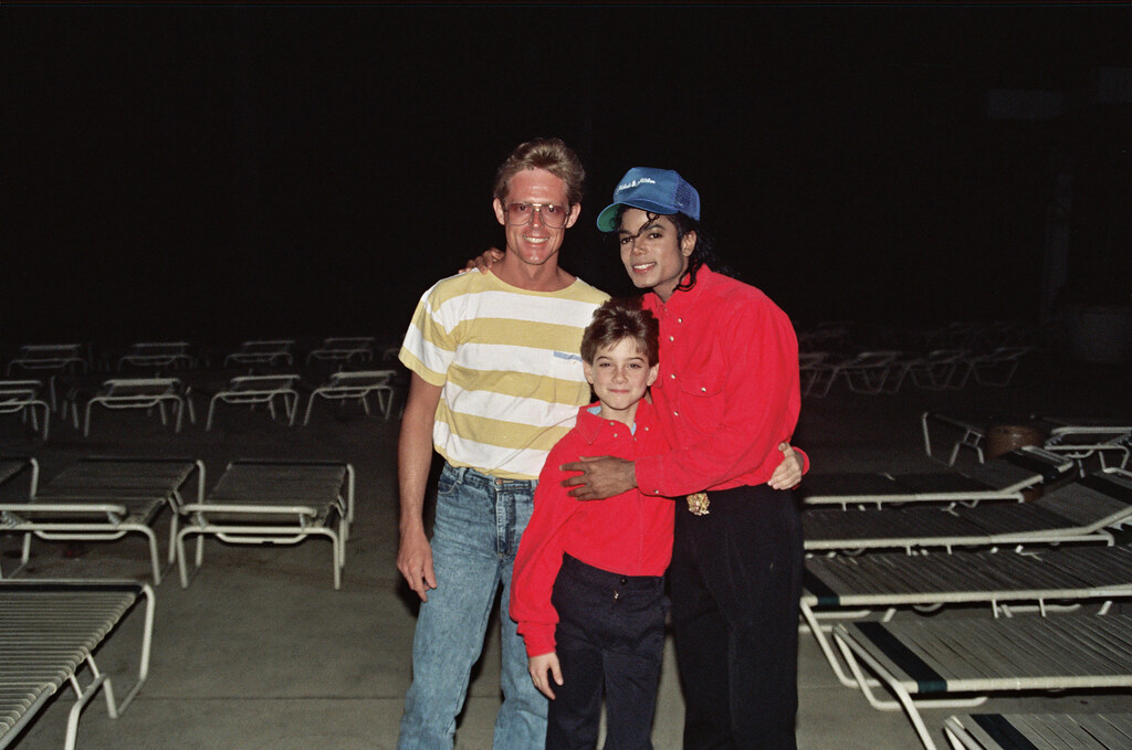 "A picture of Michael Jackson and James Safechuck with a man who saw them while they were on the ""Bad"" Tour.  Photo Credit: Alan Light"