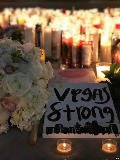 Signs and candles were made for the victims and families of the Las Vegas Shooting, October 1, 2017.