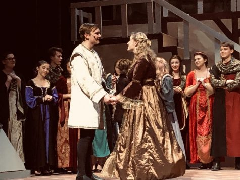 "Jordan Day Rhynard (12) and Bella Virginia (11) play the two leads of Once Upon a Mattress as Prince Dauntless and Princess Winnifred. ""I think they're all really good actors,"" Ashley Highland (12), another audience member, said."