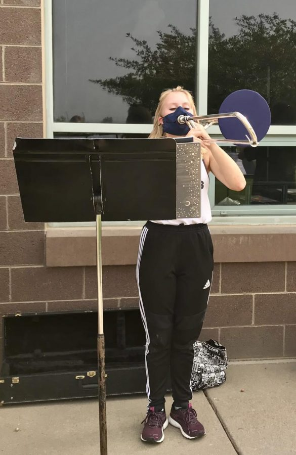 The band joins at practice on Wednesday to rehearse their music, while continuing to follow the proper safety protocol.
