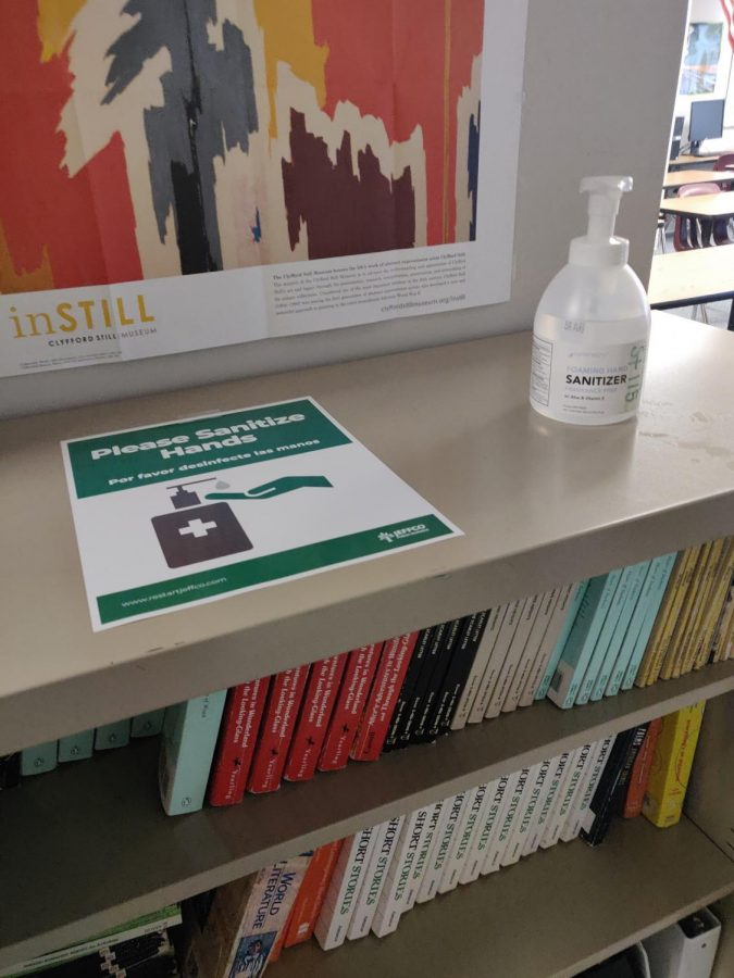 Hand sanitizer us put into classrooms in Dakota Ridge, with signs reminding students to use them whenever possible.