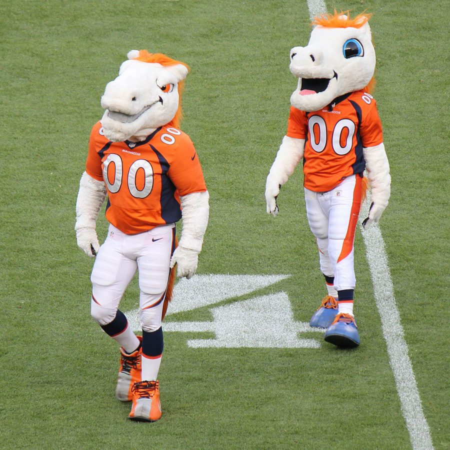 Miles and Thunder, the two mascots of the Denver Broncos.